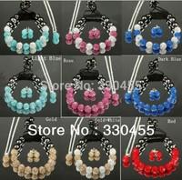 Wholesale Free P&P 10mm Czech Crystal 11pcs Disco Balls 925 Silver Chain Necklace+Bracelet+Earrings Handmade Shamballa Sets XB02