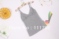 Free shipping 2013 summer sexy V-neck Modal Camisole Foreign trade cotton embroidery stitching strap underwear bottoming shirt