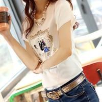 2013 new Slim summer white short-sleeve cotton T-shirt bottoming shirt tide Korean female clothes short sleeve t-shirt