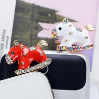 2014 Special Offer Real Lovely Rhinestone & Crystal Carousel Dust Plug Cap for Iphone 5s 5c Sp/mix Order $5 Free Shipping B003