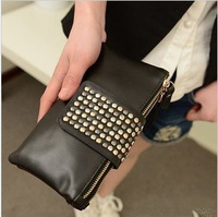 New Fashion PU Leather Rivets Bag Handbag Lady Girl Evening Party Bag Purse Wallet double Zipper Envelope Bags Day Clutch RJ1456