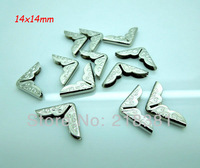 200Pcs Silver Tone DIY Shirt Angle Collar Corner Garment Corner for Notebook 14x14mmx2.8mm
