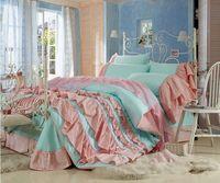 Korean 100% cotton princess bedding reactive printing comforter set reffles lovely kids bedding set/bed sheet