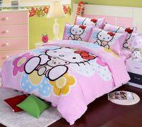 Softness flannel fabric children/kids bedding set queen hello kitty cartoon bedding set princess comforter set/duvet cover
