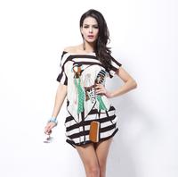 2014 New Retail Fashion Dress Bamboo Beautiful Hot Drilling Big Yards Women Short-Sleeved Chiffon Sweatshirts Ice Silk T-shirts