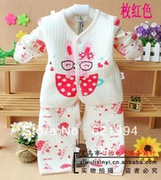 Free shipping 2013 brand winter new Baby Clothes long sleeve coat pants pure cotton baby girl clothing sets rabbit