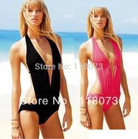 2014 Women's Black Red Deep V One Piece Swimwear Monokinis Bathing Suit Swimsuit Beachwear S M L Size #029 Biquini