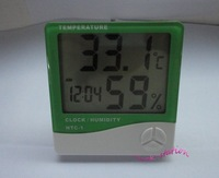 2 Pieces Green Large LCD Temperature  and Humidity  Thermometer Meter Desk Clock