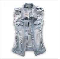 2014 street fashion lace patchwork denim vest super denim outerwear female jacket free shipping S-L