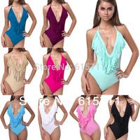 2014 Newest Sexy Monokini Swimwear V Neck Bathing Suits Fringe Tassel Bikini Swimsuit 11 Colors S M L #PA003
