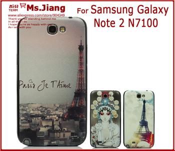 Black Side New 2014 Printed Hard Back Cover Case for Samsung Galaxy Note 2 N7100 Case For Samsung N7100 Cover Accessories