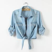 2015 summer demonstyle  thin denim jeans shirt  plus size xxl shirt small cape waistcoat shorts women jeans