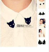 Min Order $10(Can Mix Item)  Popular Personality Cat Head Collar Clamp False Collar Cat Head Brooch Fashion Jewelry