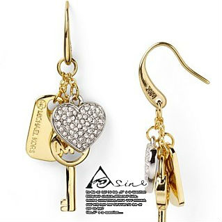 XYE5 2013 Christmas Fashion Brand Jewelry Designer Earrings Drop for Women Cystal Key Heart Hot Sale gold GriL Freeshiping(China (Mainland))