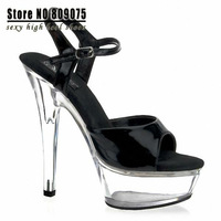 Clear 6 Inch High Heel Mid Platform Sandals 15cm high-heeled platform shoes sexy dance shoes sandals star performance shoes