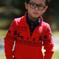Children boy dummy two-piece sweater,kids jacquard stand collar pullover sweater, Y31