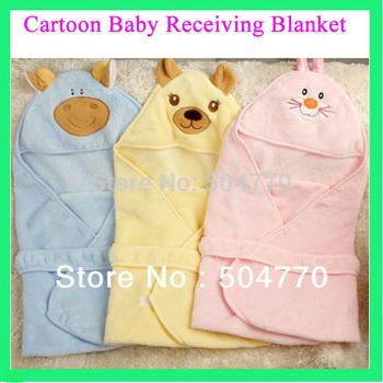 3 Colors Coral Velvet Cartoon Animal Newborn Pyjamas Baby Receiving Blanket  Soft & Confortable Children Quilt Sleeping Blancket