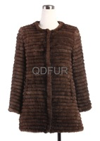 Luxury Lady Genuine Knitted Mink Fur Coat Jacket with Lining Winter Women Fur Outerwear Coats Garment (QD27589A)