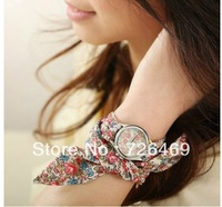 2013 New Hot Sale Free shipping Women flower cloth wrist watch/fashionable watch/Wrist Watch For Women