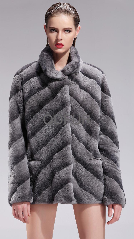 Luxury Women Genuine Sheared Rex Rabbit Fur Coat Female Winter Warm Overcoat Fashion Clothing (QD27594A)(China (Mainland))