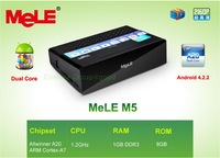 Free Shipping!!Brand Mele M5 Dual Core A20 Mini PC Android TV Box Android 4.2 1GB/8GB HDD Player 3D