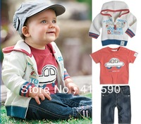 children autumn,new 2013,korean children clothing wholesale,boy set 3pieces,boys kids,3-pcs children set 1 set/lot,Free Shipping