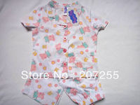 free shipping ! children peppa pig  girl Pajamas cotton Woven short sleeved top + pants suits sets