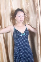 Free shipping 2013 summer female foreign striped camisole sexy deep V-neck cotton nightdress 100 in-kind shooting