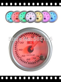 2014 gauge  7colors auto meter,clear lense with white face vacuum gauge 7c7706