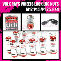 DAYO - VOLK RAYS FORMULA WHEELS LOCK LUG NUTS / M12*P1.5 or P1.25, Red color
