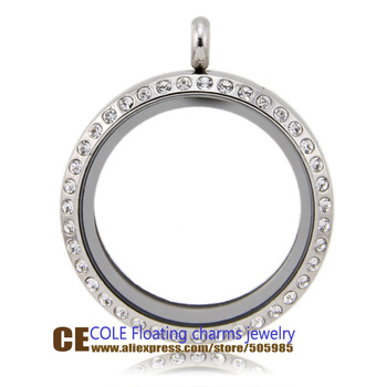 High Quality 30mm Czech Crystals  Stainless Steel Glass Pendant Floating Charm Locket   Free Shipping ETFC059