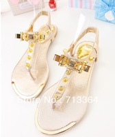 Hot-selling 2014 metal decoration rhinestone women's bow flat shoes sandals