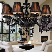 free  shipping 70L*70W*100H cm  Black Crystal Chandelier with 8 Lights Black  Black brushed shade  Candle chandelier