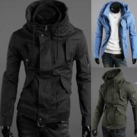 2014 free shipping Men's jackets outerwear  fashionable casual zipper Top plus size coats