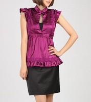 top selling  New star style fashion women stand collar pleated purple long shirts tops short sleeve blouse size S,M,L