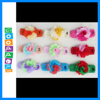 Hot sale Baby accessories 9sets Crochet Headbands + colorfull flower, Baby Hair bows free shipping 9pcs/lot