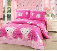 New arrival summer children bedding set cute princess bedding set cartoon hello kitty bedding set/bed sheet