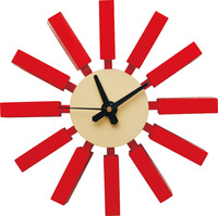 Free shipping, 1 piece 12 inch red color George Nelson wooden block wall Clock