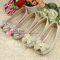 Retail Free Shipping 1 Pairs Party Shoes Girls Pearls Shoes Kids Footwear  PU Rubber Sole Falts Rhinestone Princess Shoes RT002