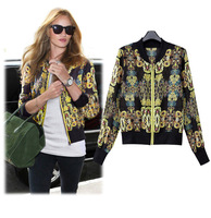 2014 New Women's Jacket Fashion Zipper Long Sleeve Lady Coats Print Chiffon XL Thin Summer Jacket for Lady in Stock