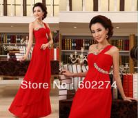 Red Long Design Formal 2013 Wedding One Shoulder Slim Bride Evening Dress Free Shipping