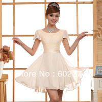 2013 Fashion Bride Short-sleeve Short Design Evening Dress Free Shipping