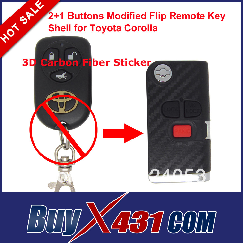 2+1 Buttons Modified Flip Remote Key Shell Car Keys Case Cover for Toyota Corolla 3D Carbon Fiber Sticker + Free Shipping(China (Mainland))