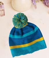 Acrylic beautiful color winter  pom pom knit baby hat
