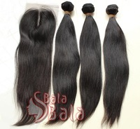 Brazilian straight hair extension Mix 3pcs/lot  with 1pc 130% density closure 1B color no lice clean hair