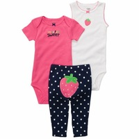 Free Shipping Baby Girl Soft Rompers Set  Carters 100% Cotton Close-Fitting Wear  3 Pieces Creeper Set