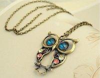 free shipping Women's owl fashion necklace Vintage Cut Out Flower Necklace restore ancient ways owl pendant necklace bronze