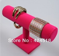 Free shipping New One Tier Pink Velvet T-Bar Bracelet Necklace Jewelry Watch Display Stand