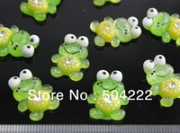 set of 100pcs lovely hand paint glitter green frog cute resin Cabochon for Kawaii Decoden DIY Projects-SZ0386