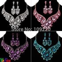 Free Shipping 1set/lot Bridesmaid Party Tear Drop Earring Necklace Rhinestone Wedding Crystal Purple Jewelry Sets Blue WA119